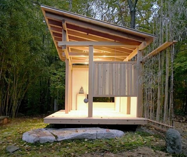 Island cabin lean to style architectural inspiration for Modern japanese tea house design